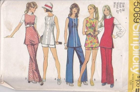 Tunic Pants shorts sewing pattern 1972 Size 18 Bust 40 Simplicity 5069