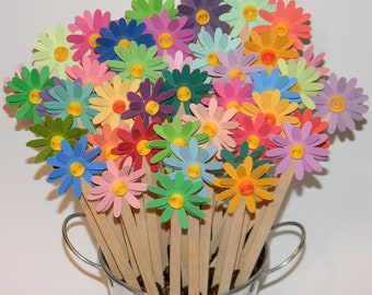 DAISY DRINK STIRRERS - or Cupcake Toppers - Wedding Flowers and Party Bouquet - Great for Coffee and Drink Bar - set of 12