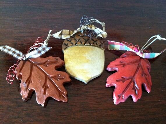 Acorn Ornament, Autumn Oak Leaf & Acorn Ornaments, Leaf Napkin Ring