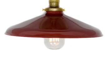 """Industrial Gloss Red 12"""" Porcelain Enamel Shade Edison Flush Mount Light ( antique brass or chrome )"""