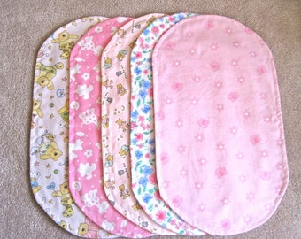 "Flannel Burp Cloths for Girl Set of 5 ~ 9"" x 17"" FREE SHIP US only"