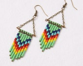 Southwestern Jewelry, Dangle Earrings, Hand Beaded Earrings, Chevron, Neon Tribal Earrings