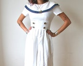 Sailor Romper in White Navy and Gold 90's does 50's sz S
