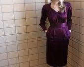 Late 1980s Liz Claiborne Eggplant/Aubergine/Purple Power Dress, Size 8