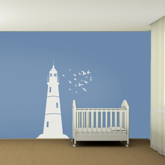 Small Nautical Wall Decor : Wall decal kids lighthouse and flock of birds by wallstickums