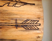"Rustic SALVAGED WOOD Engraved Sign ""Feather and Arrow"""