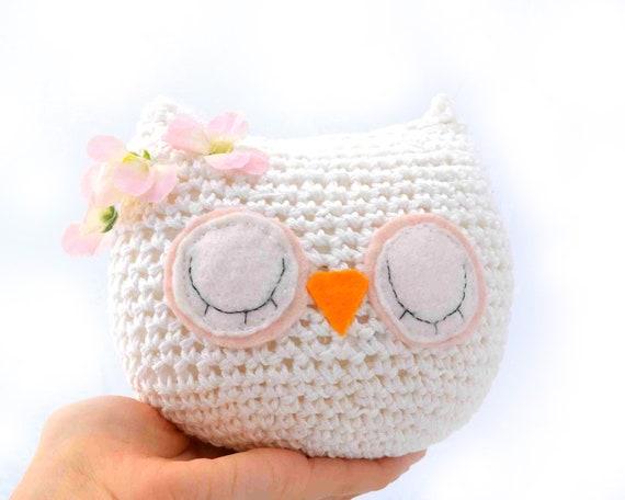 owl plush white 100% cotton amigurumi sleepy sleeping woodland pale pink flowers crochet ready to ship OOAK