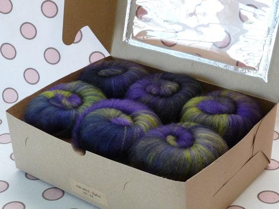 Spinning Fiber Batts - Cupcake Fiber SW BFL/Nylon Sock Fiber Batts - 6 ounces  - Grapevine