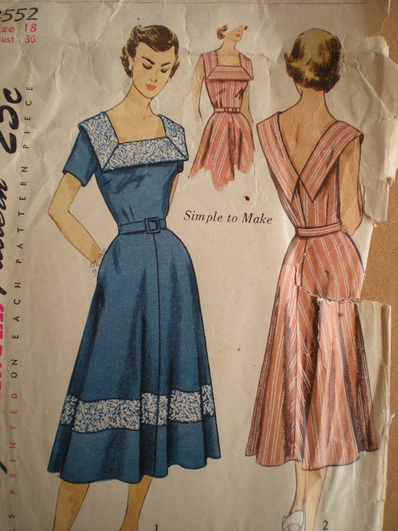 1951 Simplicity Full Skirt Dress with V Neck Collar Sewing Pattern 3552, Size 18, Bust 36