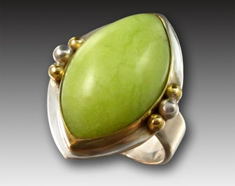 Kiwi Green Opal Ring in 18kt Gold and Sterling Silver