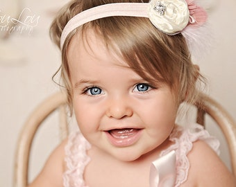Pink Creamy White  Headband with Peacock Marabou Feathers Vintage Rhinestone ClusterNewborn Infant Toddler Child Adult