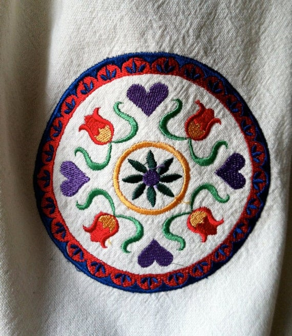 Pa Dutch Hex Sign embroidered on kitchen towel