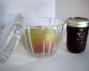 Yum Yum Vintage art deco glass jar apple butter compote 1940s NO CHARGE