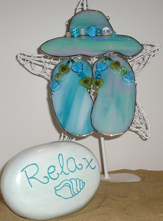 Stained Glass Aqua Opaque Hat Flops Handmade Silver Foiled