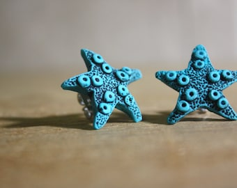 Asteroidea - Star Fish Post Earrings -  Turquoise
