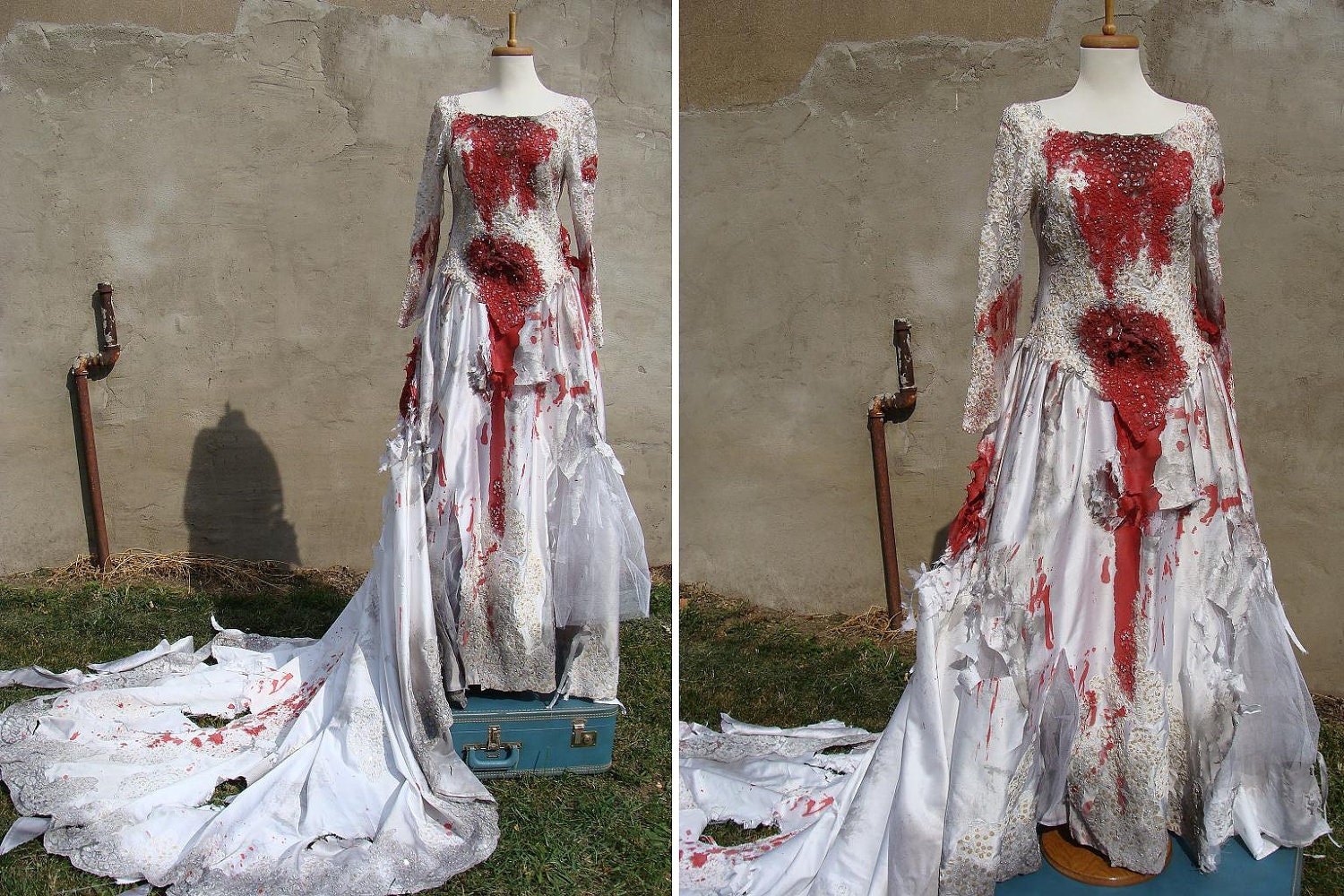 Custom made bloody zombie corpse bride wedding by for Have wedding dress made