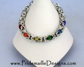 Rainbow Gay Pride Bracelet with Silver Base - Byzantine - Aluminum Chainmaille Jewelry