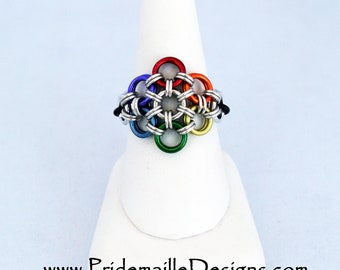Rainbow Flower Stretch Ring - Rainbow Vers.2 - Aluminum Chainmaille Jewelry