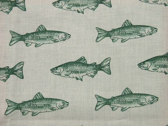 Vintage 1980s wamsutta fabric in highquality unused for Fish pattern fabric