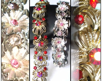 Vintage Rhinestone Bracelets (2) Red Pink Enameled Silver Gold Party Prom Swing Rockabilly Garden Party Mad Men Dress Gown