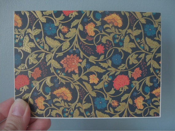 SALE Blank Note Card Set of 5 Dark Navy Floral Ready to Ship