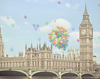 "London Photography, London art print, Large wall art, nursery art - ""A London Celebration"""