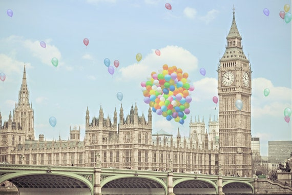 London Photography - A London Celebration - fine art photography print of balloons over Big Ben