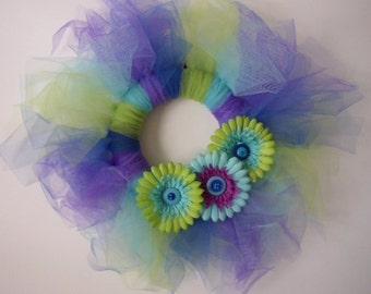 Adorable Peacock Tulle Wreath With Blue Purple and Lime Green Flowers One of a Kind Handmade Just For You