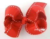 """Saddle Stitch Red Hair Bow/ girls hair bows/ toddler hair bows/ 3 inch bows/ 3"""" hair bows/ toddler/ baby hair bow/ non slip/ boutique bow"""