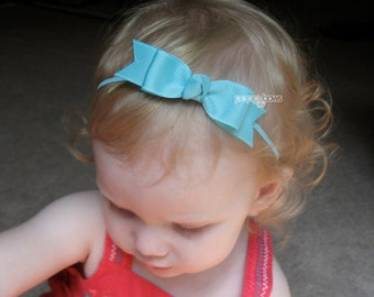 Baby Headband with Bow Aqua Blue - Skinny Elastic Headband Boutique Bow in Custom Sizes - Solid Color - Newborn Baby Toddler Girl