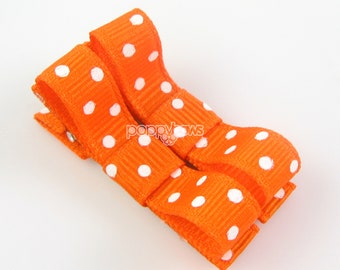 Polka Dot Baby Hair Clips Orange Hair Clips - Matching Pair Alligator Barrettes for Babies Toddlers Girls Polka Dot Tuxedo Bow