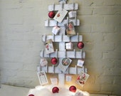Advent Calendar Tree Wooden Christmas Decor Holiday White Washed Rustic Distressed