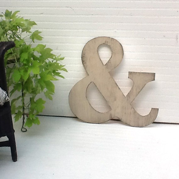 Wooden Ampersand 24 inch Distressed Cream Extra Large Wooden Letter Shabby Chic