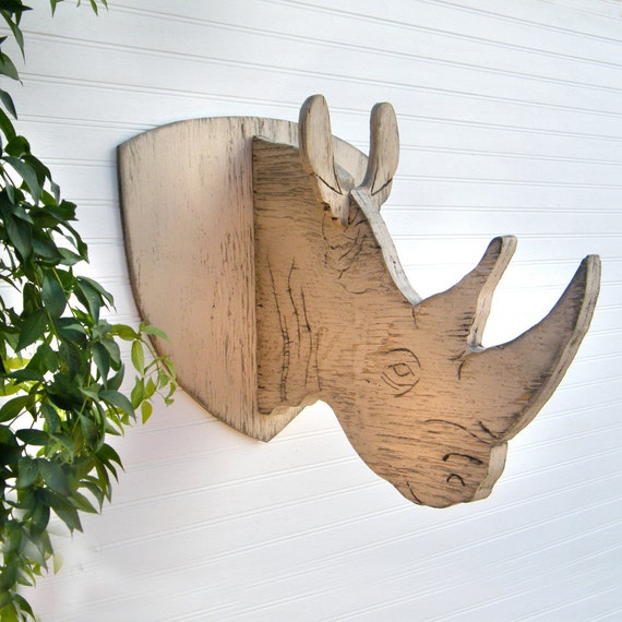 items similar to rhino trophy head kids wall decor rustic