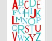 SALE - Modern Alphabet - 8 x 10 Print - Modern Nursery Decor - Aqua, Sky Blue, Red, Turquoise
