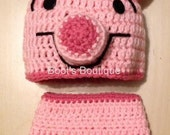 Pig Hat and Diaper Cover Set