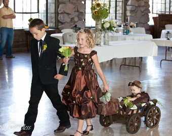 Small  Flower Girl Wedding Wagon - Stained Dark Brown