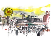 Fishermans Wharf San Francisco fine art print from a watercolor sketch