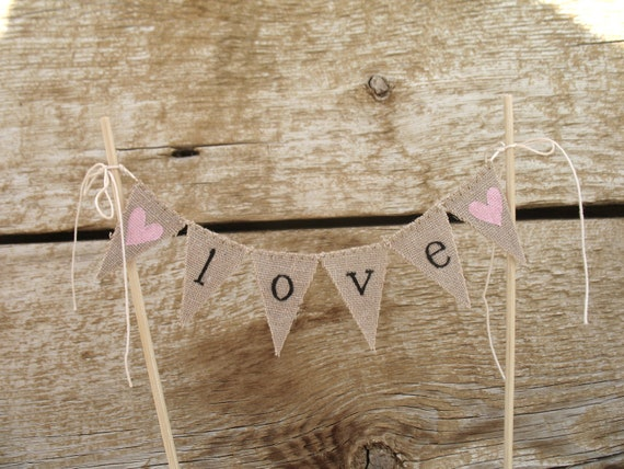 Classic Love Baker Banner Wedding Cake Topper in Lowercase, black Lettering, tea dyed cotton.