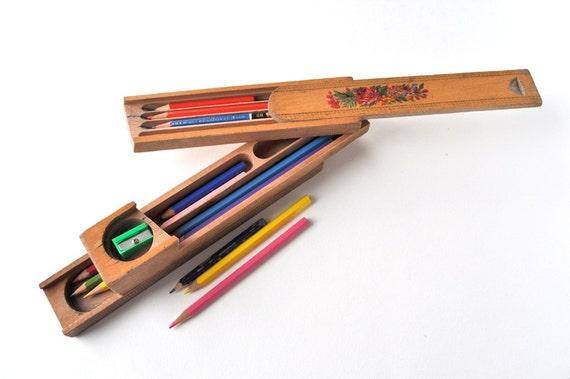 Vintage Wooden Pencil Case 3 Tier Box Desk Storage