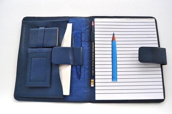 Vintage Blue Leather Writing Case Stationery Folder