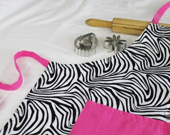 Zebra n Hot Pink Adult Apron