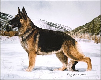 Winter Tracks, German Shepherd lithograph print by Cindy Alvarado