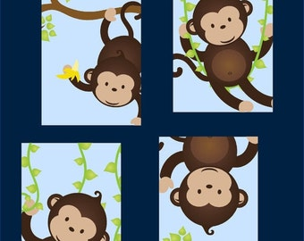 Money Art for Boys // Monkey Nursery Art // Monkey Decor for Kids // Monkey Wall Art // Set of Four 8x10 PRINTS ONLY
