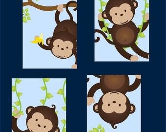 Money Art for Boys // Monkey Nursery Art // Monkey Decor for Kids // Monkey Wall Art // Set of Four 8x10 PRINTS ONLY