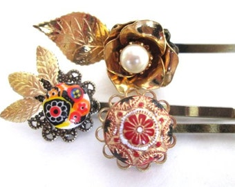 Repurposed Vintage Styled Jeweled Hairpins Prom Clips Bridal Red Gold Hair Accessories Wedding Flowers