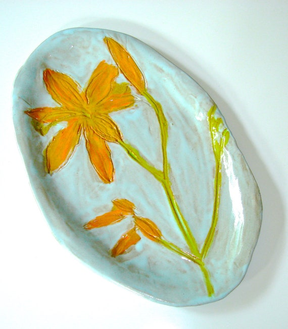 Turquoise Ceramic Platter, pottery platter, hand painted plate, botanical home decor, orange Day Lily, floral serving plate, robins egg blue