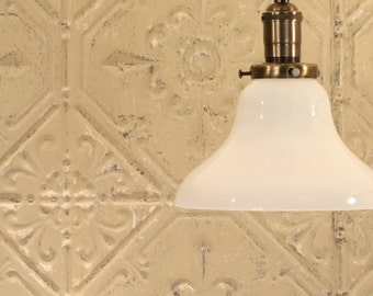 Light with Semiflush Exposed Socket Design with Opal Glass Shade