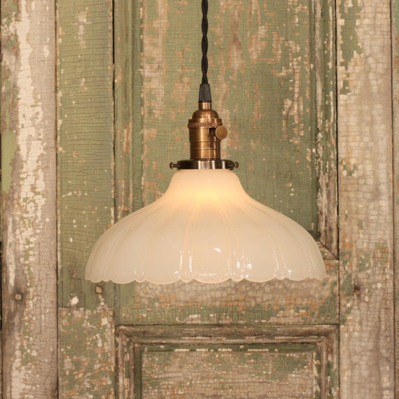Pendant Lighting with Vintage Deep Sheffield Style Shade and Reproduction Twisted Wire