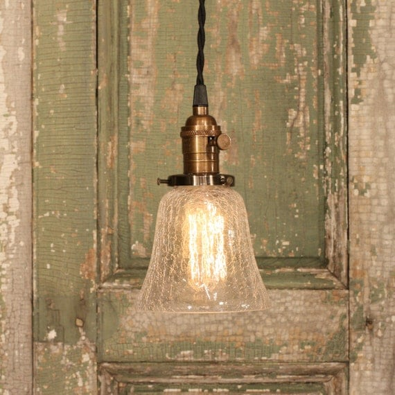 Lighting with Cracked Glass Design Bell Style Glass Shade and Reproduction Cotton Twist Wire